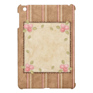 Country Pink & Brown - Stripes & Roses Case For The iPad Mini