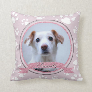 Country Pink Dog Memorial Paw Prints Throw Pillow