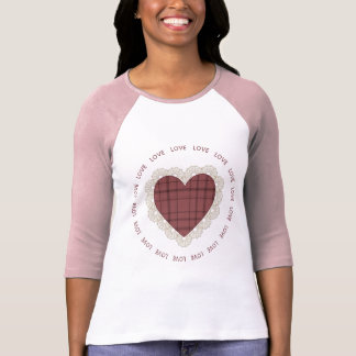 Country Plaid Lace Heart Tee Shirt