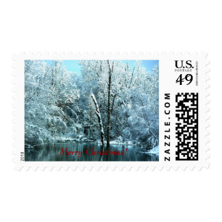 Country Pond in the Snow Merry Christmas stamps