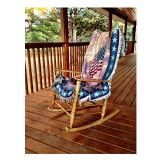Country Porch Rocker American Flag Throw Postcard