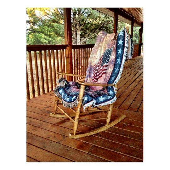 Incredible Country Porch Rocker American Flag Throw Postcard Inzonedesignstudio Interior Chair Design Inzonedesignstudiocom