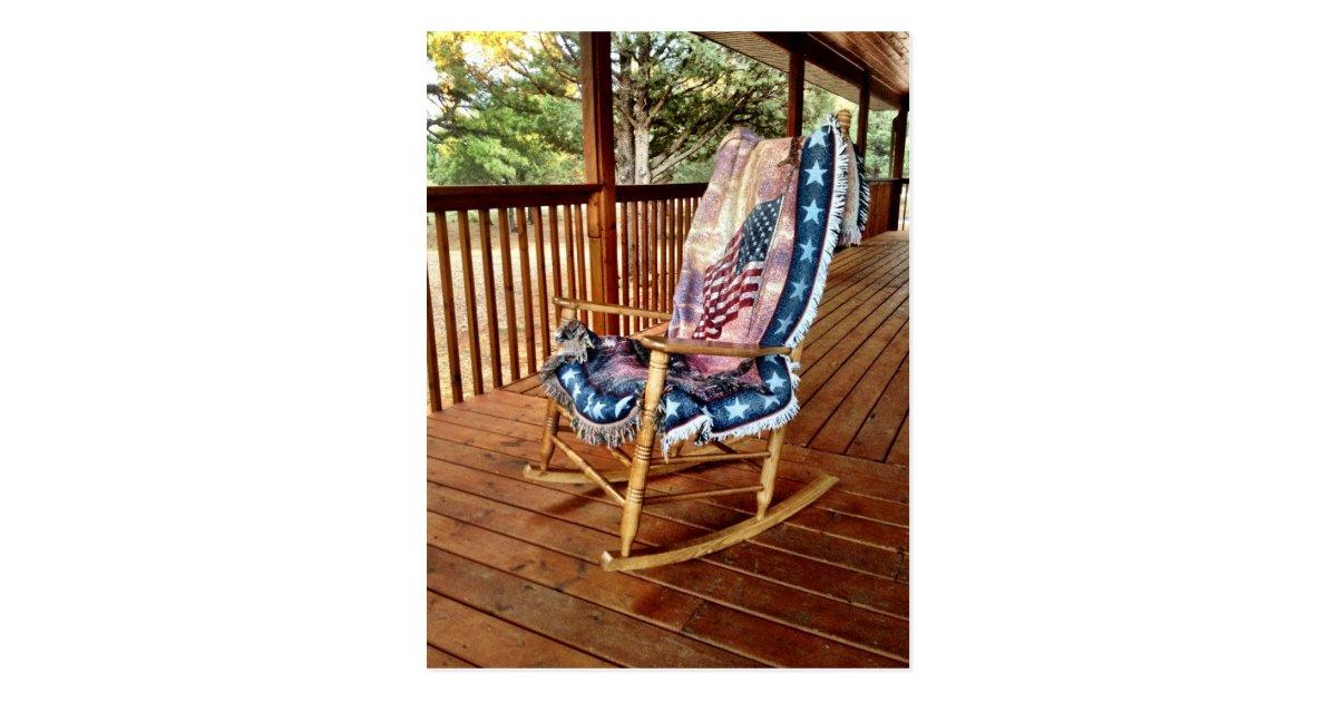 Magnificent Country Porch Rocker American Flag Throw Postcard Zazzle Com Inzonedesignstudio Interior Chair Design Inzonedesignstudiocom