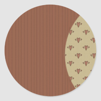 Country Prim Brown Stripes & Hearts Stickers
