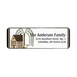 Country/Prim Saltbox House Return Address Labels