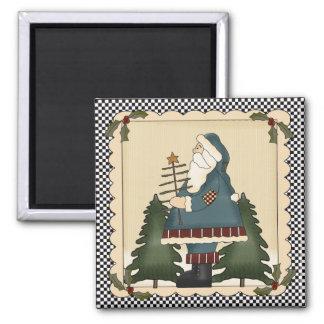 Country Prim Santa Claus Magnet