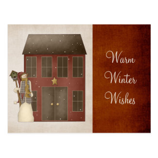 Country Prim Snowman Saltbox House Design Post Card
