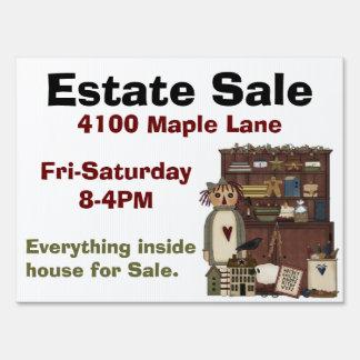 Country Primitive Estate Sale Yard Sign