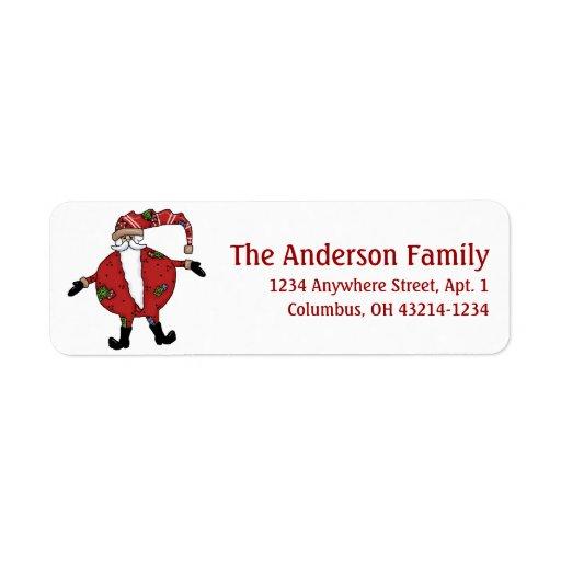 Country Primitive Santa Claus Return Address Label
