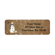 Country Primitive Snowman Address Label