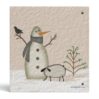 Country Primitive Snowman Binder