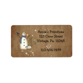 Country Primitive Snowman Label