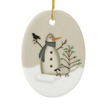 Country Primitive Snowman Ornament