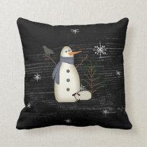 Country Primitive Snowman Pillow
