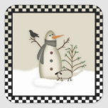 Country Primitive Snowman Sticker