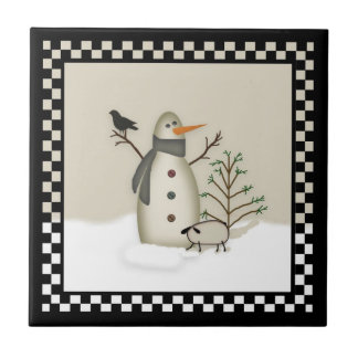 Country Primitive Snowman Tile