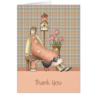 Country Primitive Thank You Card