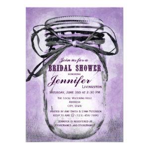 Country Purple Mason Jar Bridal Shower Invitations