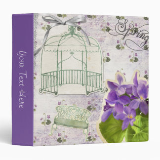 Country Purple Violets and Birdcages 3 Ring Binder