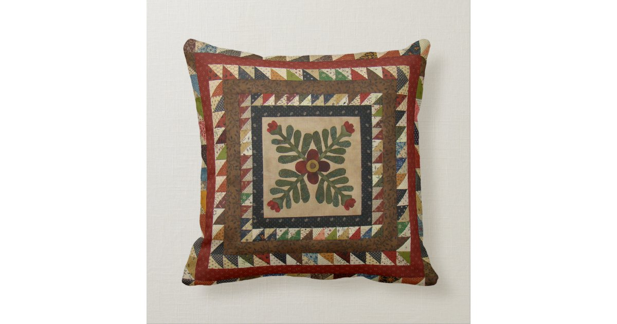 Throw Pillow Quilt Pattern : Country Quilt Pattern Throw Pillow 16x16 Zazzle