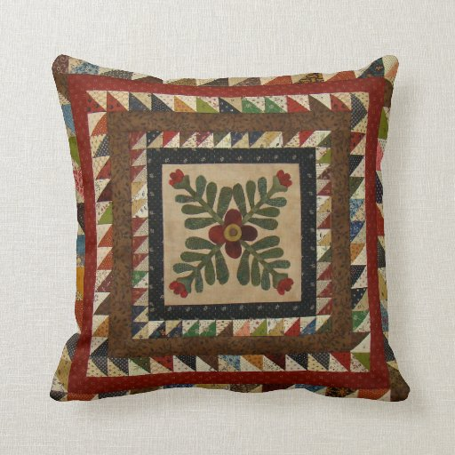 Country Quilt Pattern Throw Pillow 16x16 Zazzle