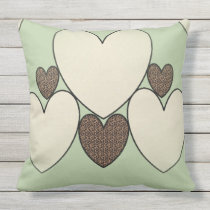 Country-Quilt_Suggle-Hearts(c)_Sage-Cheetah _LARGE Throw Pillow