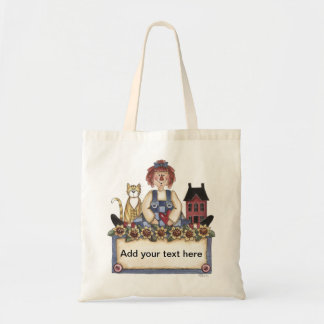 Country Raggedy Ann Saltbox & Cat Tote Bag