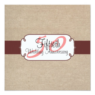 Country Raisin and Beige Burlap Anniversary Party Card