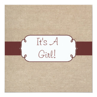 Country Raisin and Beige Burlap Baby Shower Card