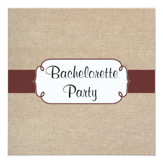 Country Raisin and Beige Burlap Bachelorette Party Card