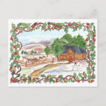 Country Ranch House Cows Merry Christmas Holiday Postcard