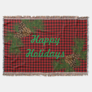 Country red and black plaid - happy holidays throw blanket