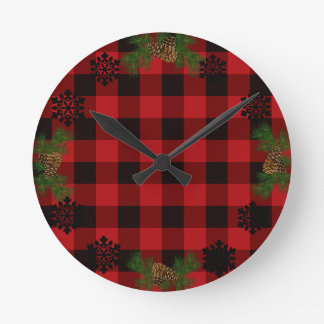 Country red and black plaid pine cone round clock