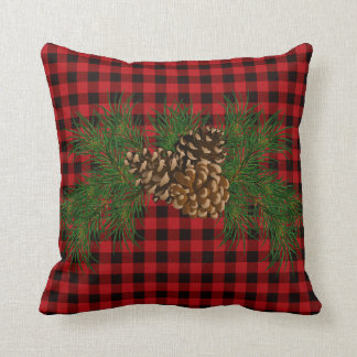 Country red and black plaid pine cone throw pillow