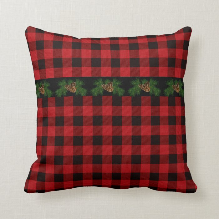 Black Plaid Throw Pillow : Country red and black plaid pine cone throw pillow Zazzle