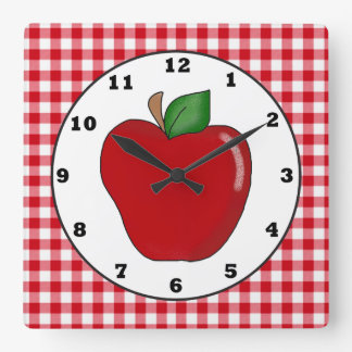 Country red apple fruit wall clock
