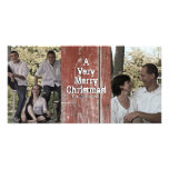 Country Red Barn Two Photo Christmas Card