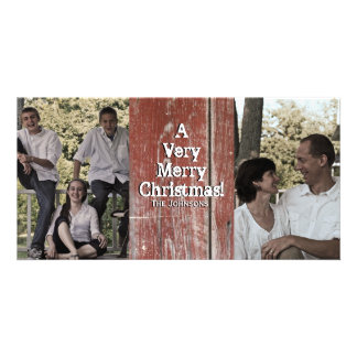 Country Red Barn Two Photo Christmas Card Photo Card