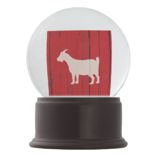 Country Red Barn with Goat Farm Snow Globe