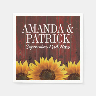 Country Red Barn Wood + Rustic Sunflower Wedding Paper Napkin