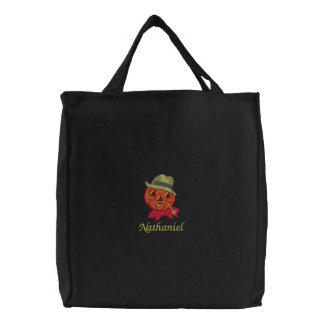 Country Red Bow Scarecrow Pumpkin Jack-O-Lantern Embroidered Tote Bag