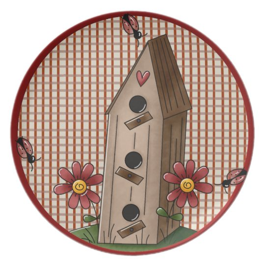 Country Red Check Gingham Birdhouse Plate