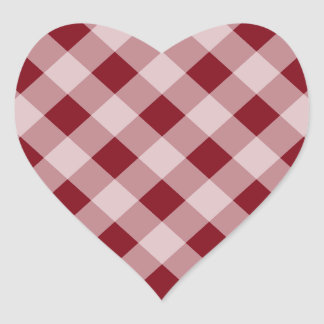 Country Red Gingham Heart Stickers