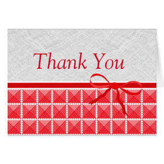 Country Red Gingham Like Wedding Thank You Cards