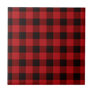 Country red plaid ceramic tile