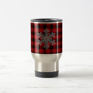 Country red plaid - snow flake travel mug