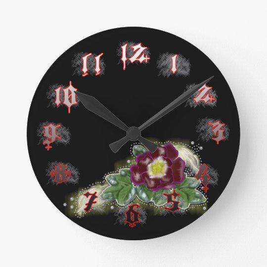 country red rose round clock