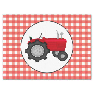 Country red tractor party gingham style tissue tissue paper