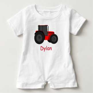 Country Red Tractor with Your Baby Name Romper