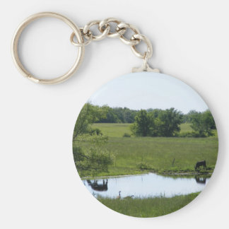 Country Reflection Basic Round Button Keychain